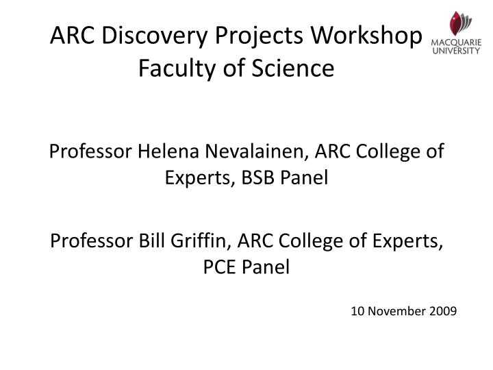 arc discovery projects workshop faculty of science n.