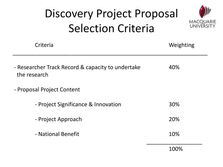 Discovery Project Proposal