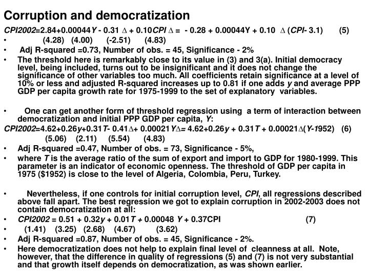 Corruption and democratization