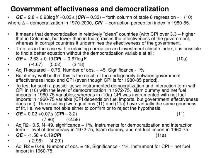 Government effectiveness and democratization