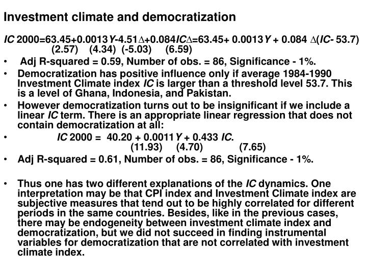 Investment climate and democratization
