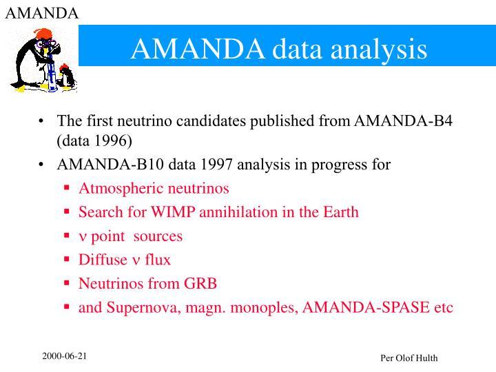 AMANDA data analysis