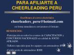 para afiliarte a cheerleading peru