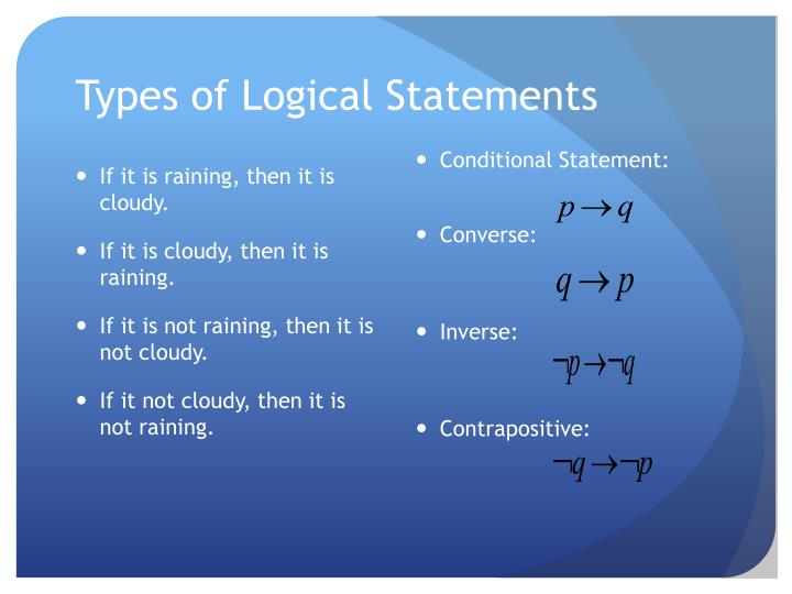 Types of Logical Statements