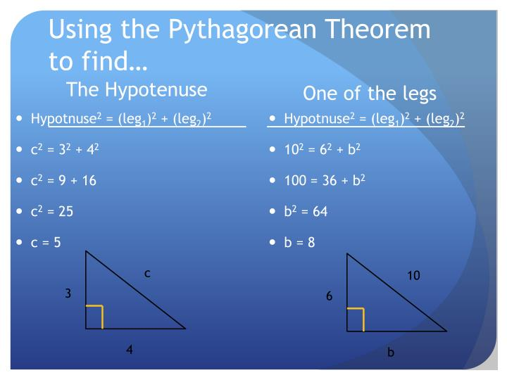 Using the Pythagorean Theorem to find…