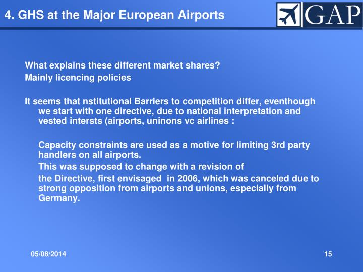 4. GHS at the Major European Airports