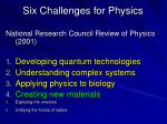six challenges for physics