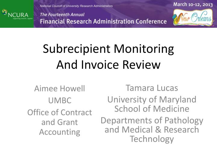 subrecipient monitoring and invoice review n.