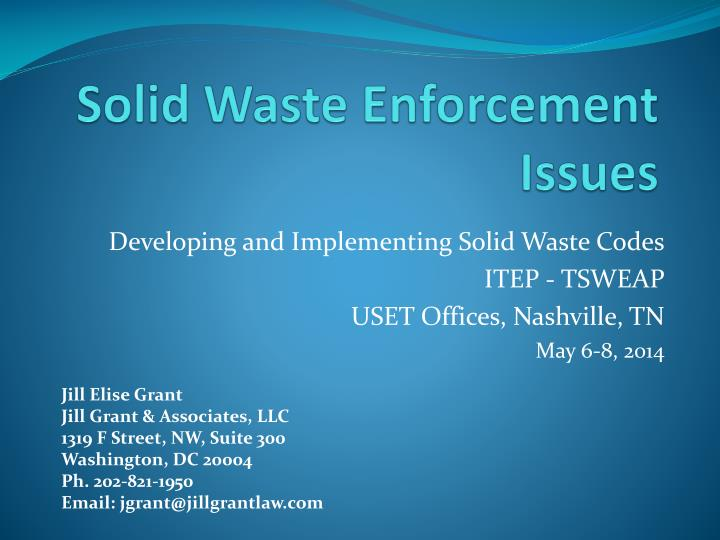 Solid waste enforcement issues