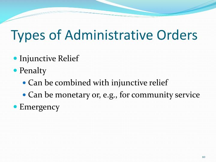 Types of Administrative Orders