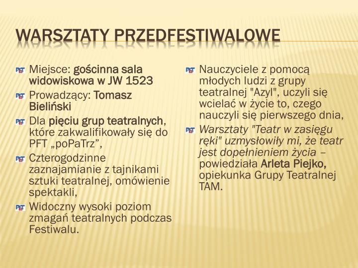 Warsztaty przedfestiwalowe