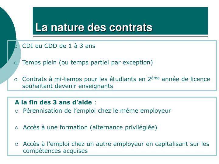 La nature des contrats
