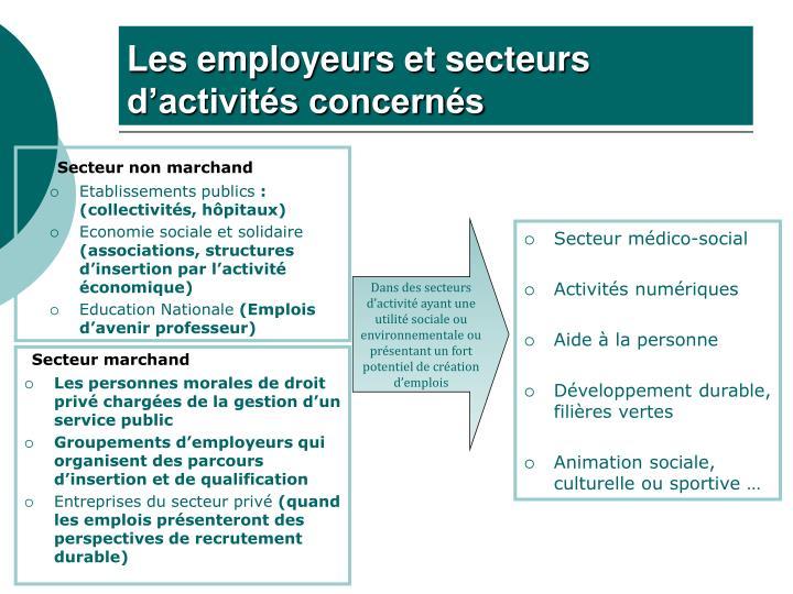 Les employeurs et secteurs d activit s concern s