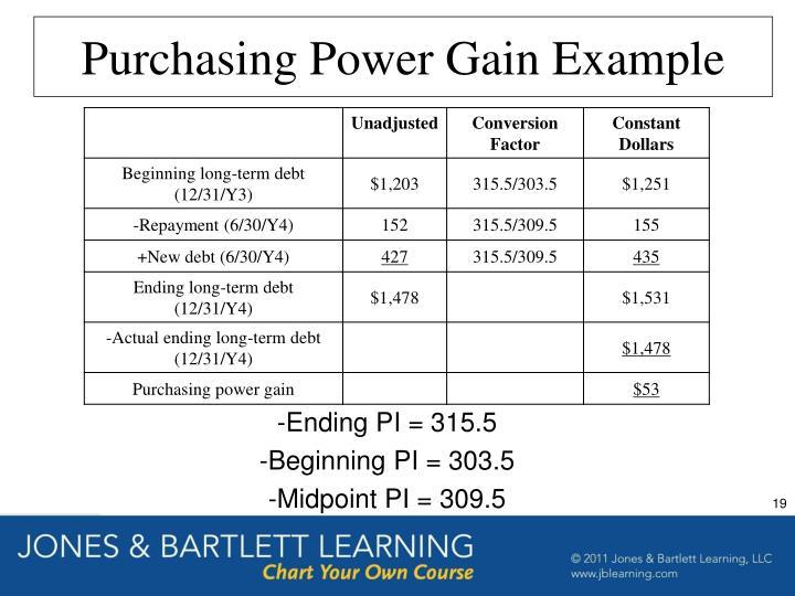Purchasing Power Gain Example