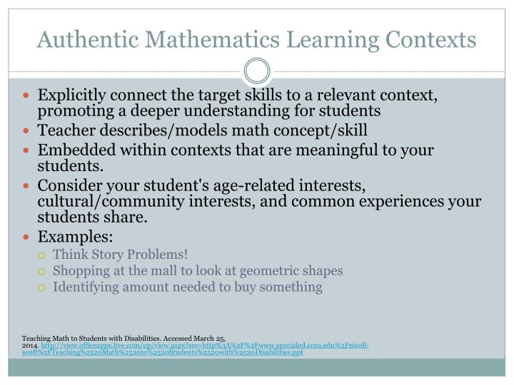 Authentic Mathematics Learning Contexts