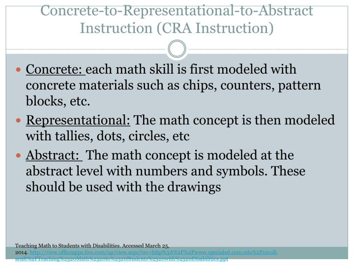 Concrete-to-Representational-to-Abstract Instruction (CRA Instruction)