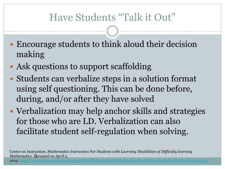 """Have Students """"Talk it Out"""""""