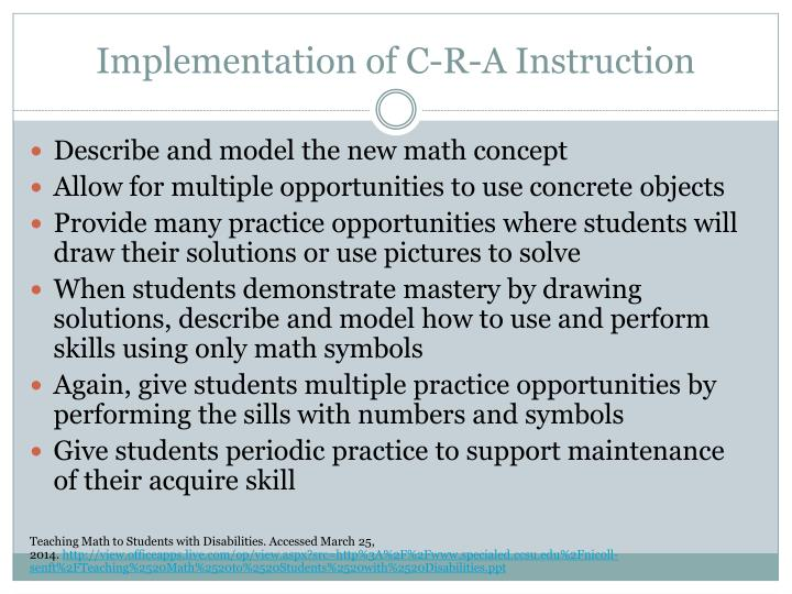 Implementation of C-R-A Instruction