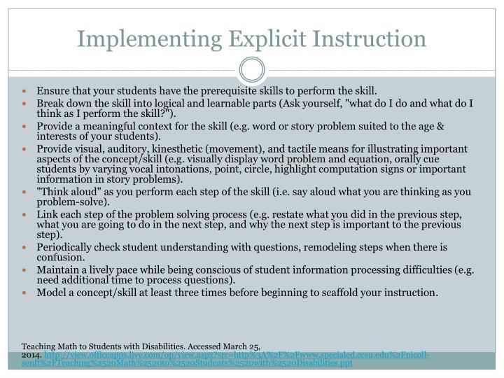 Implementing Explicit Instruction