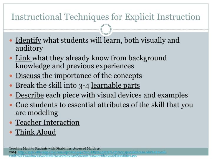 Instructional Techniques for Explicit Instruction