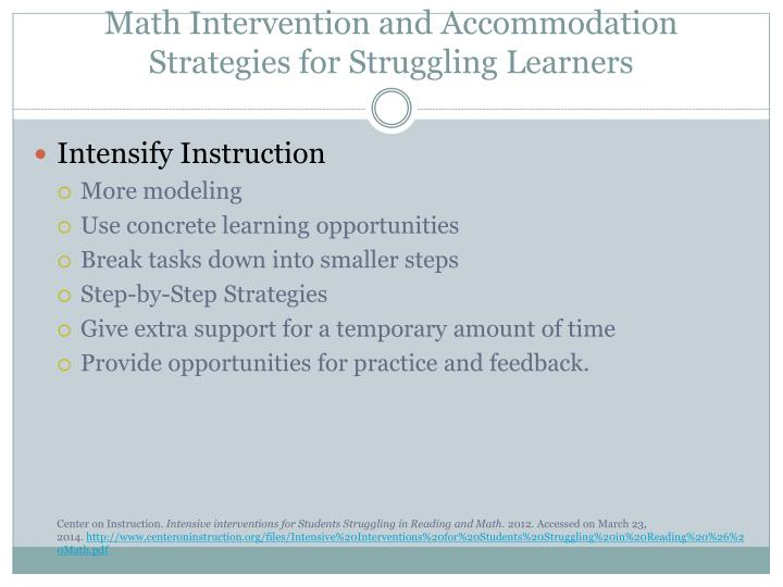 Math Intervention and Accommodation Strategies for Struggling Learners