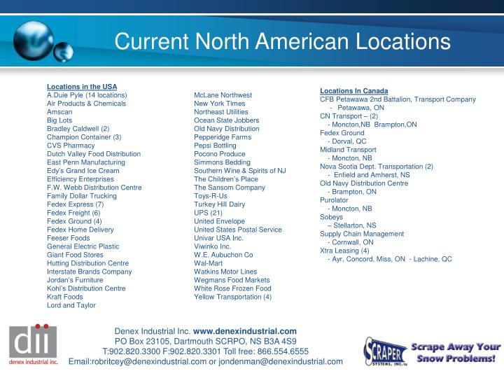 Current North American Locations