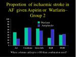 proportion of ischaemic stroke in af given aspirin or warfarin group 2
