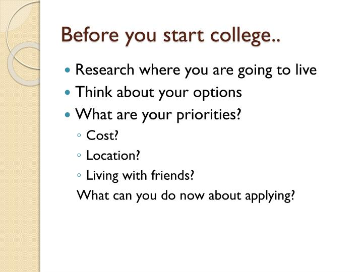 Before you start college