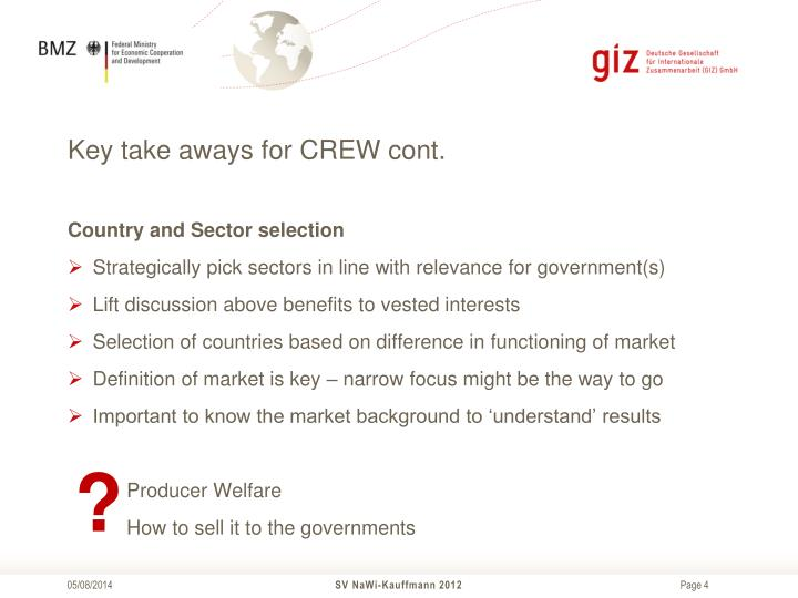 Key take aways for CREW cont.