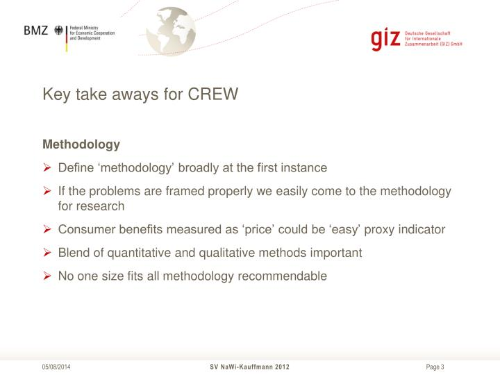 Key take aways for crew