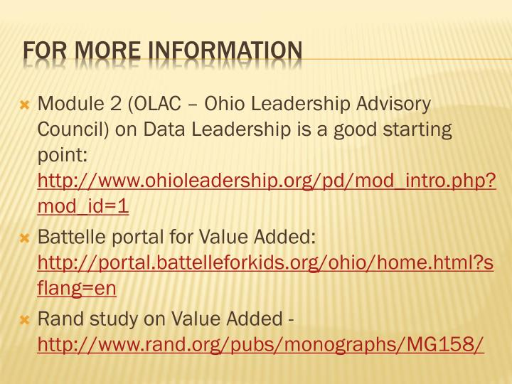 Module 2 (OLAC – Ohio Leadership Advisory Council) on Data Leadership is a good starting point: