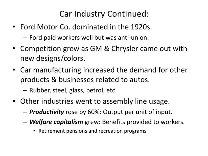 Car Industry Continued: