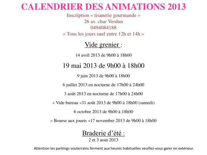 CALENDRIER DES ANIMATIONS 2013