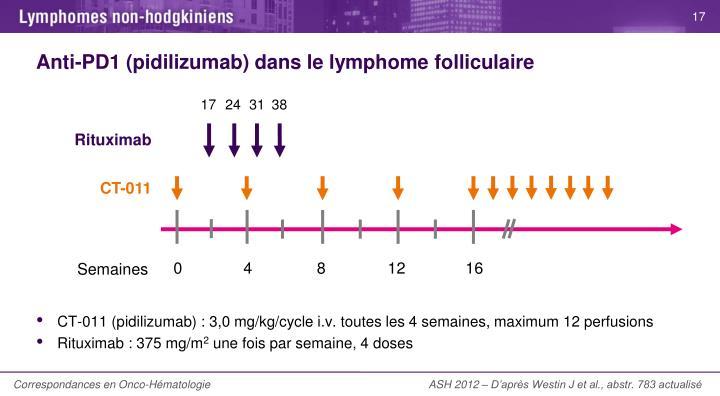 Anti-PD1 (pidilizumab) dans le lymphome folliculaire