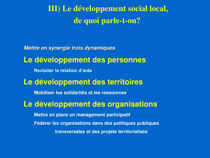 III) Le développement social local,