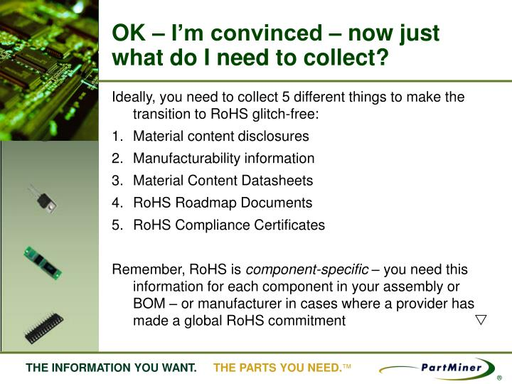 OK – I'm convinced – now just what do I need to collect?
