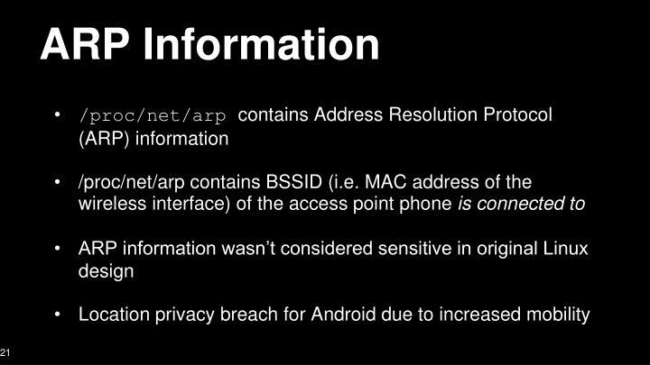 ARP Information