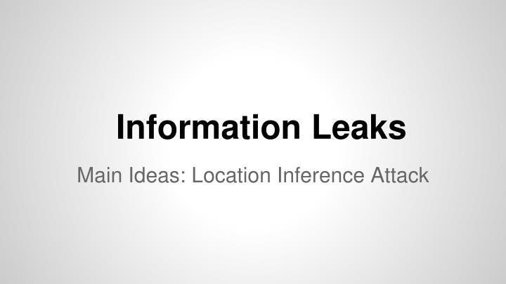Information Leaks