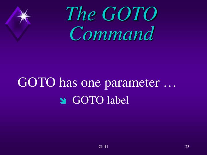 The GOTO Command