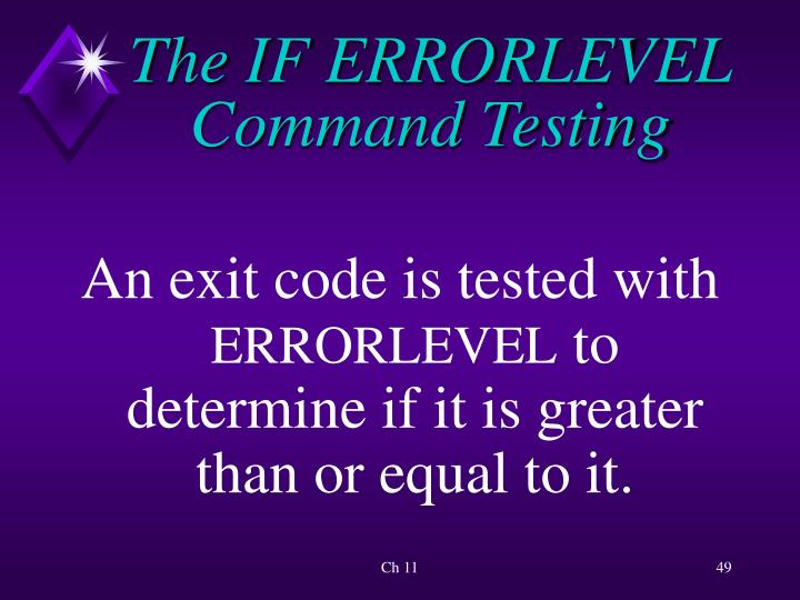 The IF ERRORLEVEL Command Testing