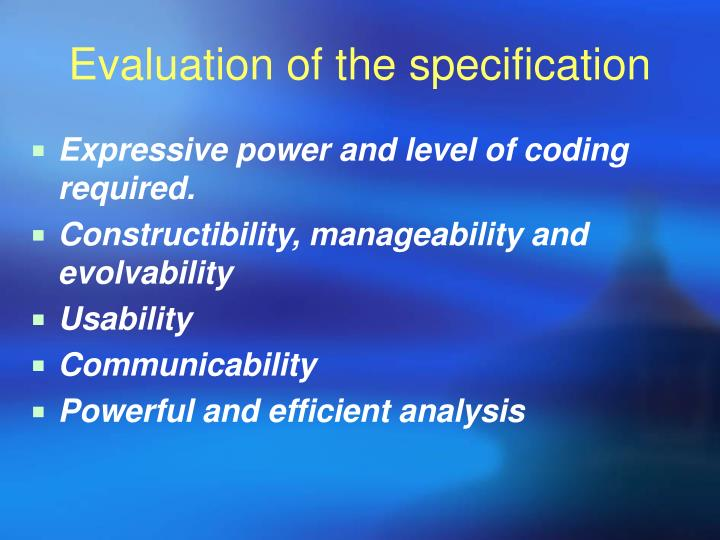 Evaluation of the specification