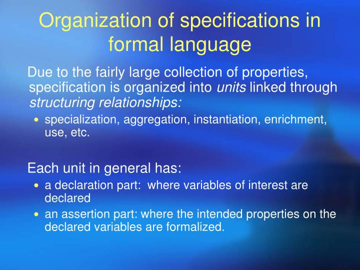 Organization of specifications in formal language