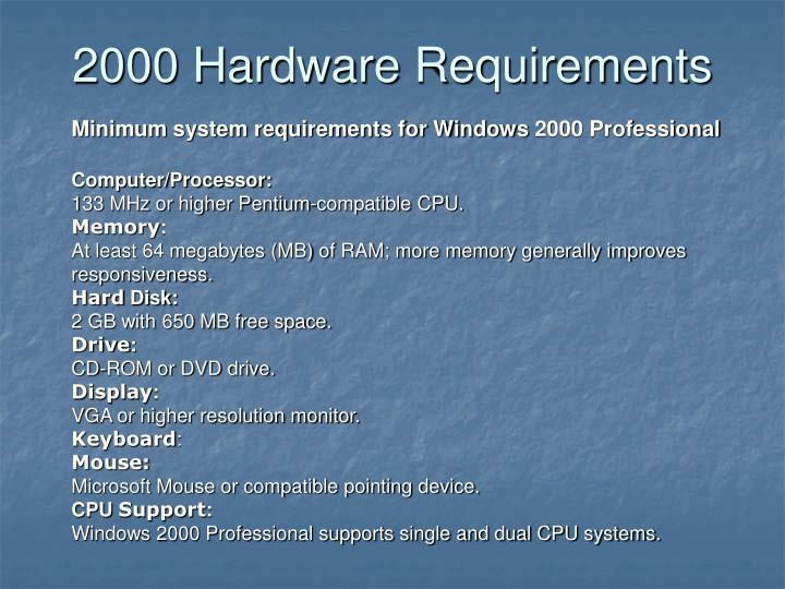 2000 Hardware Requirements