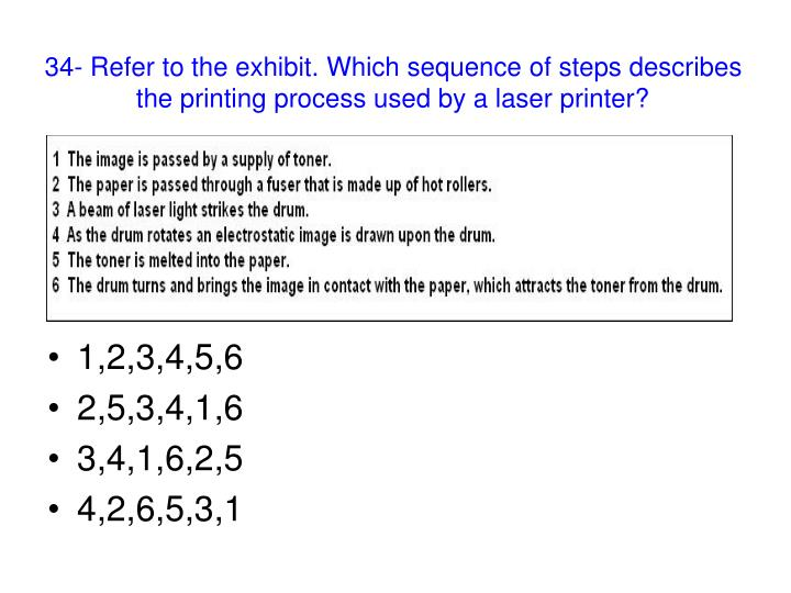34- Refer to the exhibit. Which sequence of steps describes the printing process used by a laser printer?