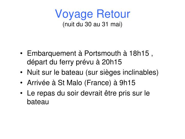 Voyage Retour