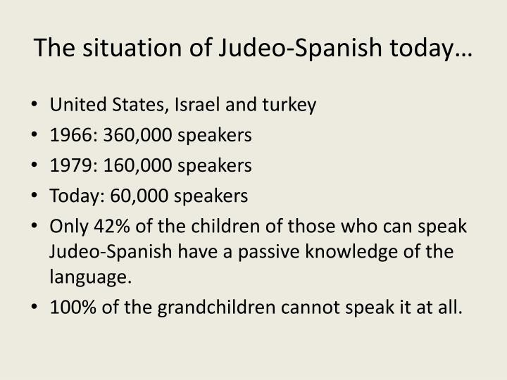 The situation of Judeo-Spanish today…