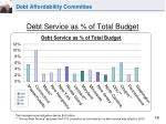 debt service as of total budget