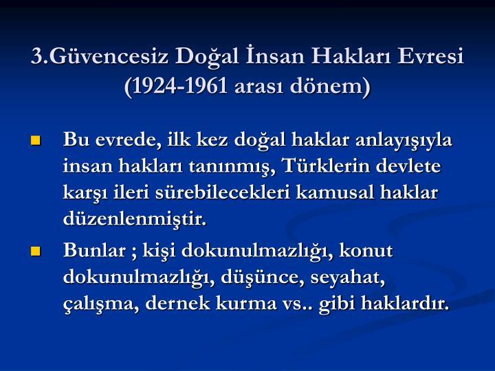 3.Güvencesiz Doğal İnsan Hakları Evresi (1924-1961 arası dönem)