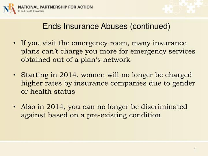 Ends Insurance Abuses (continued)