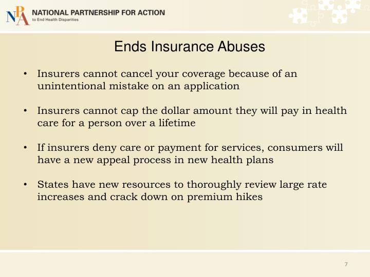 Ends Insurance Abuses